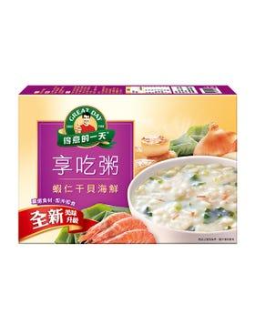 得意的一天蝦仁干貝海鮮享吃粥