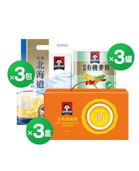 有機米精+北海道鮮奶麥片+滴雞精